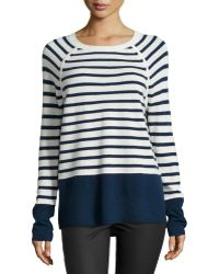 Vince Striped Colorblock Sweater - Lyst