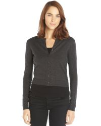 Autumn Cashmere Black Stretch Cotton Long Sleeve Baby Cardigan - Lyst