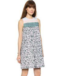 Suno Pleated Dress - Marker Batik Stripes - Lyst