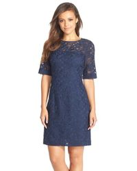 Kaya & Sloane - Embroidered Lace Sheath Dress - Lyst