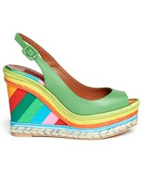 Valentino Leather Canvas Platform Wedge Sandals - Lyst