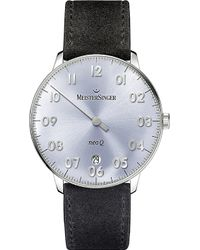 Meistersinger Nq908n Neo Q Stainless Steel And Leather Watch - Blue