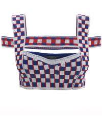 Alexander McQueen - Graphic Jacquard Knit Harness Bra - Lyst