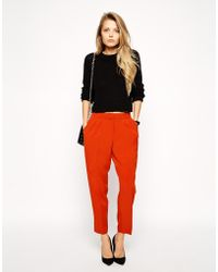 Asos Peg Trouser With Front Pleats - Lyst