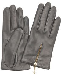 Portolano | Grey Wool Blend Lined Leather Zip Cuff Gloves | Lyst
