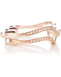 Joelle Jewellery - 18K Pink Gold Crystal Four Finger Ring - Lyst