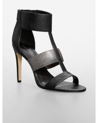 Calvin Klein White Label Angela Leather + Metallic High Heel Sandal - Lyst