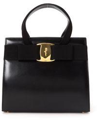 Ferragamo Black Vara Bow Handbag - Lyst