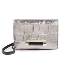 Diane von Furstenberg 'Micro Mini 440' Croc Embossed Metallic Leather Crossbody Bag - Metallic - Lyst