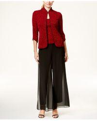 Alex Evenings Three-quarter-sleeve Glitter Jacket & Tank Set - Red