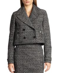 Burberry London Cropped Tweed Jacket - Lyst
