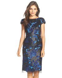 Vera Wang Sequin Embellished Sheath Dress - Lyst