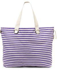 Rampage Purple Stripe Canvas Tote - Lyst