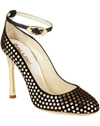 Pollini Black Mirrored Heels - Lyst