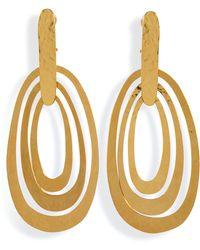 Herve Van Der Straeten - Hammered Gold-Plated Saturne Clip Earrings - Lyst