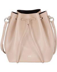 N°21 Polished Leather Bucket Bag - Natural