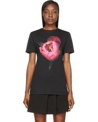 Christopher Kane Black and Fuchsia Peony Printed T_shirt - Lyst