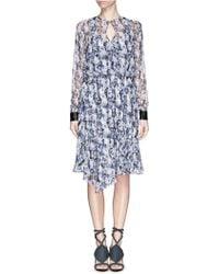 Prabal Gurung Mineral Print Keyhole Front Silk Crepe Dress - Lyst