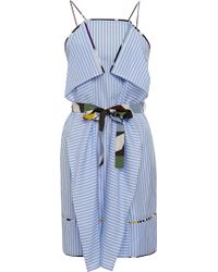MSGM Pinstripe Belted Dress - Lyst
