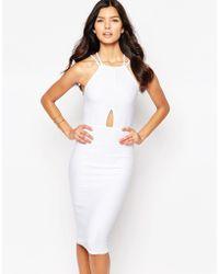 Oh My Love Keyhole Midi Bodycon Dress - White