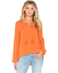 Glamorous | Lace Up Long Sleeve Top | Lyst
