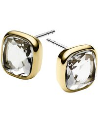 Michael Kors Gold-Tone And Clear Stone Stud Earrings - Lyst