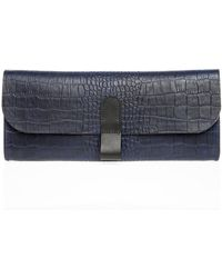 Danielle Foster - Slimline Navy Leather Clutch - Last One By - Lyst