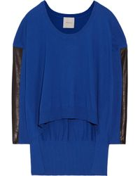 Mason by Michelle Mason Leather-Trimmed Cotton And Cashmere-Blend Sweater - Lyst