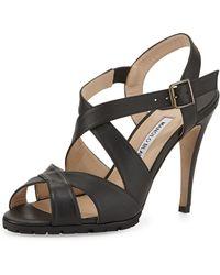 Manolo Blahnik Etola Leather Crisscross Sandal - Lyst