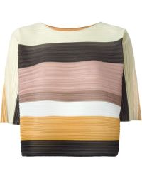 Pleats Please Issey Miyake Color Block Pleated Top - Multicolor