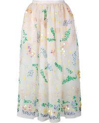 Ashish Embellished Organza Midi Skirt - Green
