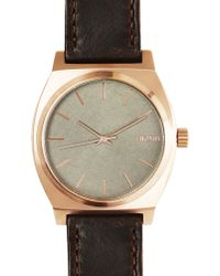 Nixon Pink Gold Time Teller Watch Brown Horween Leather Strap - Lyst