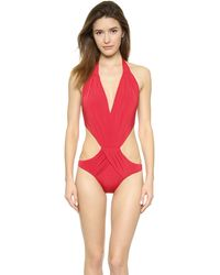 Vix Solid Red One Piece Swimsuit - Lyst
