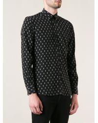 Saint Laurent Black Printed Shirt - Lyst