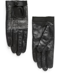 Mango Studded Leather Gloves - Lyst
