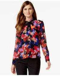Cece by Cynthia Steffe - Floral-print Contrast-tie-neck Blouse - Lyst