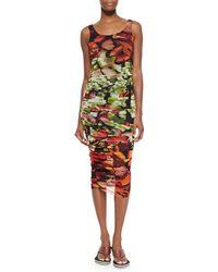 Jean Paul Gaultier Butterfly-Print Side-Ruched Tank Dress - Lyst