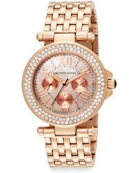 Saks Fifth Avenue Mother-of-pearl Swarovski Crystal  Rose Goldtone Stainless Steel Watch - Metallic