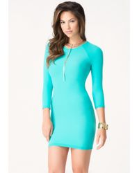 Bebe Raglan Bodycon Dress blue - Lyst