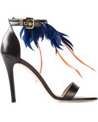 MSGM Feather Appliqué Sandals - Lyst
