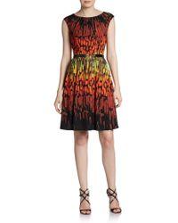 Ellen Tracy Vibrant-Print Belted Dress - Lyst