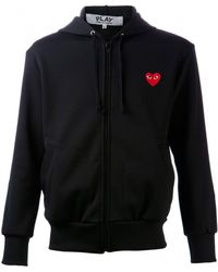 Comme Des Garçons Black Heart Logo Zip Hoodie - Lyst