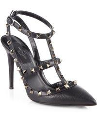 Valentino Noir Leather Rockstud Pumps - Lyst