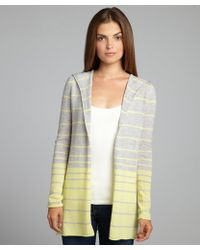 Autumn Cashmere Grey and Yellow Ombre Stripe Cashmere Hooded Cardigan - Lyst