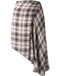 Haute Hippie Asymmetrical Plaid High Lo Skirt - Lyst