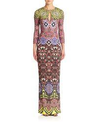 Just Cavalli Frida Diary-Print Long Dress green - Lyst