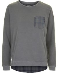 Topshop Checked Hybrid Sweat - Lyst