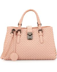 Bottega Veneta Roma Mini Woven Compartment Tote Bag - Lyst
