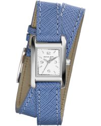 Michael Kors Womens Mini Taylor Blue Leather Wrap Strap Watch 22x20mm - Lyst