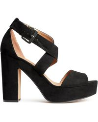 H&M Black Platform Sandals - Lyst